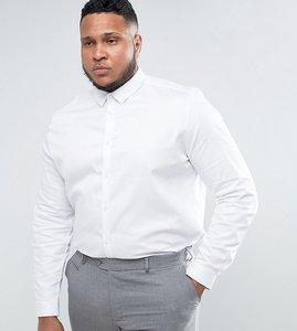 Read more about Asos plus wedding slim fit sateen shirt in white - white