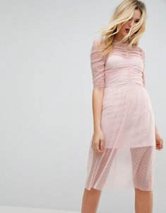 Read more about Asos ruched midi dress in spot mesh - blush