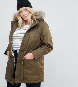 Read more about Junarose parka with fux fur trim - green