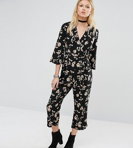 Read more about Glamorous petite long sleeve wrap detail jumpsuit in floral print - multi