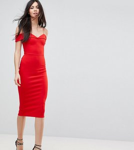 Read more about Asos tall scuba strappy bardot pencil midi dress - red