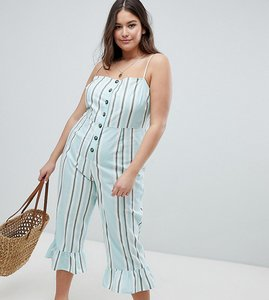 Read more about Asos design curve cotton frill hem jumpsuit with square neck and button detail in variated stripe -