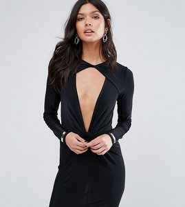 Read more about Missguided exclusive twist front slinky mini dress - black