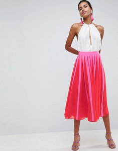 Read more about Asos pleated midi skirt with colourblock stripe - pink