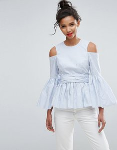 Read more about Asos premium cotton top with peplum and sleeve drama in stripe - blue white stripe
