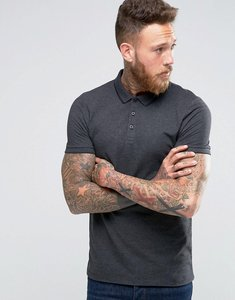 Read more about Asos muscle pique polo shirt with tipped collar in charcoal marl - charcoal marl