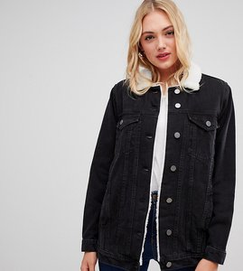 Read more about Asos design tall denim jacket with borg collar in washed black - washed black