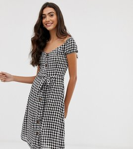 Read more about Brave soul tall off shoulder midi dress in gingham with button front