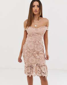 Read more about Missguided lace bardot bodycon dress in nude