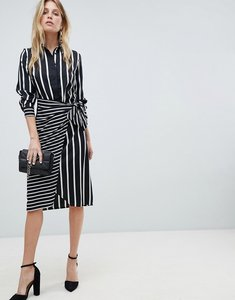 Read more about Warehouse mixed stripe wrap front shirt dress - black and white