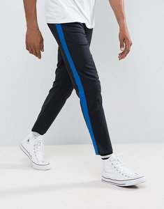 Read more about Asos slim cropped trousers with side stripe in navy - navy