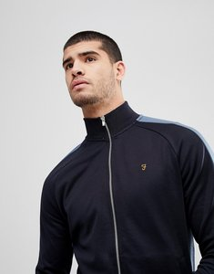 Read more about Farah irk slim fit tricot zip through sweat jacket in navy - navy