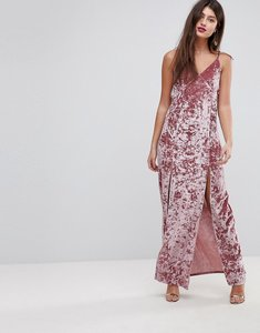 Read more about Asos crushed velvet maxi dress with ties - nude