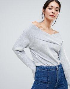 Read more about Vila off shoulder knitted jumper - ligth grey marl
