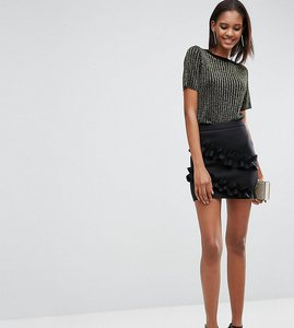 Read more about Asos tall scuba mini skirt with double ruffle detail - black
