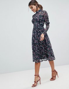 Read more about Asos mesh ditsy print midi skater dress with high neck - ditsy print