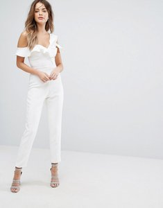 Read more about Lavish alice asymmetric frill jumpsuit - white