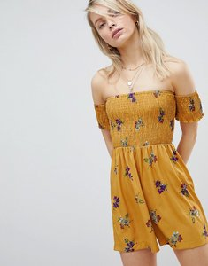 Read more about Wednesday s girl off shoulder playsuit with shirring in floral bunch print - yellow floral