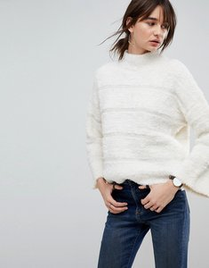 Read more about Asos jumper in fluffy stripe - cream