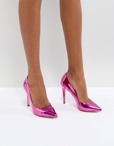 Read more about Call it spring gwydda pink metallic court shoes - pink