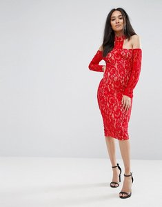 Read more about Ax paris red t-bar lace choker midi dress - red