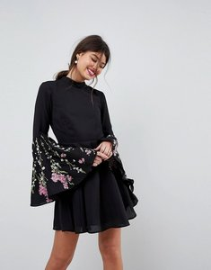 Read more about Asos fluted sleeve embroidered skater mini dress - black