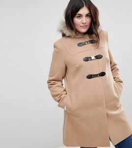 Read more about Asos curve duffle coat with faux fur hood - camel