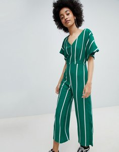 Read more about Bershka kimono sleeve stripe jumpsuit in green - green