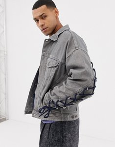 Read more about Asos oversized denim jacket with lace up sleeves in grey - grey