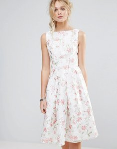 Read more about Chi chi london structured full midi dress in floral - multi white floral
