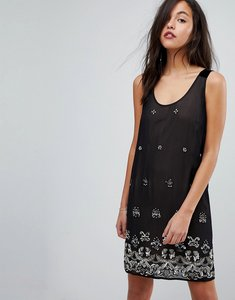 Read more about French connection embellished dress with velvet straps - black