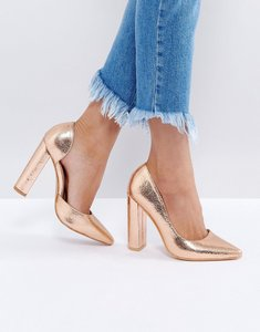 Read more about Public desire rose gold block heel court shoes - rose gold