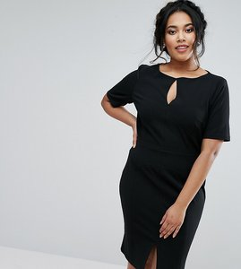 Read more about Paper dolls plus short sleeve pencil dress with cut out detail - black
