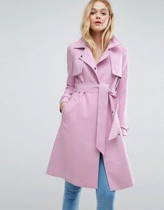 Read more about Asos bonded mac with contrast trims - pink