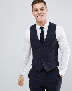 Read more about French connection brushed flannel slim fit tobacco check waistcoat - blue