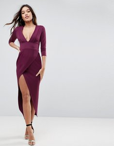 Read more about Asos deep plunge tux front maxi dress - oxblood