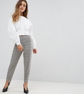Read more about Asos petite tailored heritage houndstooth pant with stirrup - multi