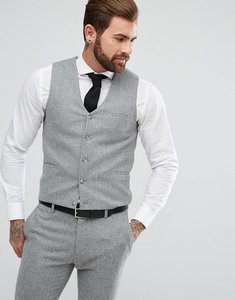 Read more about Asos super skinny suit waistcoat in grey houndstooth - grey