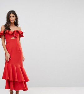 Read more about Jarlo ruffle bardot maxi dress with cut out - red