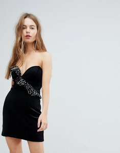 Read more about Bershka velvet shimmer frill asymmetric dress - black