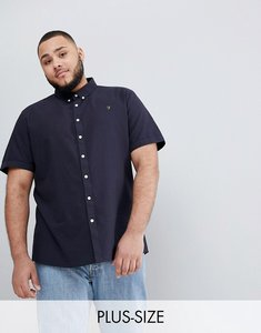 Read more about Farah plus brewer slim fit short sleeve oxford shirt in navy - 454