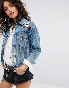 Read more about Denim supply by ralph lauren denim jacket with embroidered detail - mid wash
