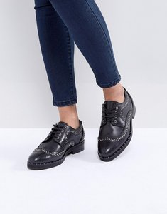 Read more about Asos monterey leather studded flat shoes - black