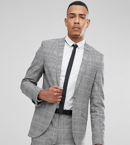 Read more about Heart dagger tall skinny suit jacket in prince of wales check - grey