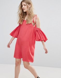 Read more about Influence cold shoulder dress with tassels - red