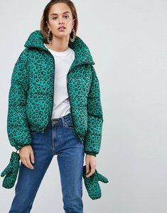 Read more about Asos puffer jacket with mittens in leopard print - green leopard