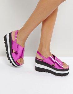 Read more about Qupid layered flatform sandal - pink metallic