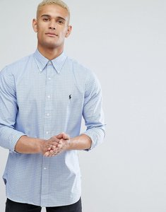 Read more about Polo ralph lauren slim fit check shirt oxford buttondown in blues - powder blue