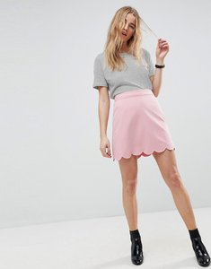 Read more about Asos tailored a-line mini skirt with scallop hem - pink