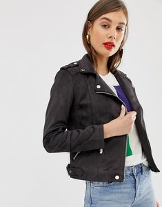 Read more about Warehouse biker jacket in faux suede in washed black - washed black